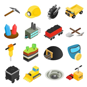 Górnicze izometryczne 3d ikony