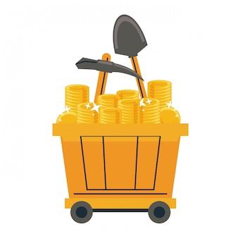Górnicze wózki z wagonami ze złotymi monetami