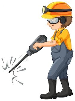 Górniczy pracownik na białym tle