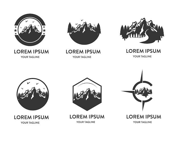 Górska przygoda logo wektor zestaw