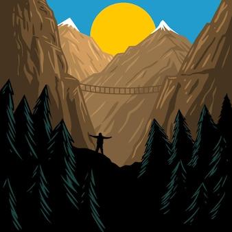 Górski krajobraz i ludzka czarna sylwetka wektor premium