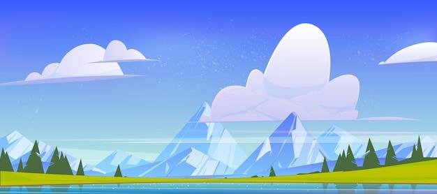 Górski krajobraz, widok natury ze stawem wodnym, szczytami skalnymi, zielonymi polami i drzewami iglastymi. spokojne jezioro i świerki pod błękitnym niebem z puszystymi chmurami, tło kreskówka sceneria, ilustracja wektorowa
