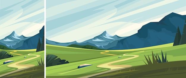 Górski krajobraz z drogą. zestaw pięknych scen pozamiejskich w układzie pionowym i poziomym.