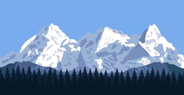 Górski krajobraz z lasem i skałami