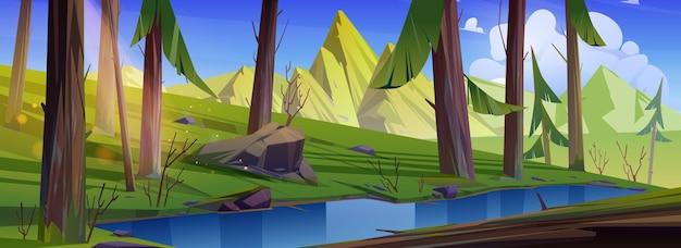 Górski krajobraz z lasem i strumieniem wody. ilustracja kreskówka letnich lasów iglastych, potoku, skał i słońca w błękitne niebo