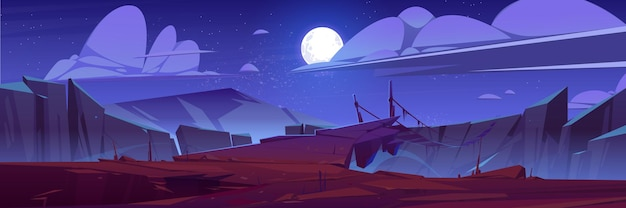 Górski krajobraz z wiszącym mostem w nocy