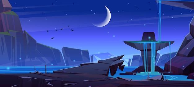 Górski krajobraz z wodospadem w nocy