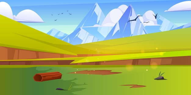 Górski krajobraz z zielonymi łąkami