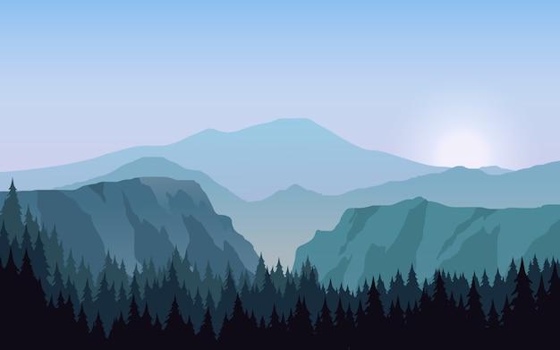 Górski krajobraz ze wzgórzami i lasem sosnowym