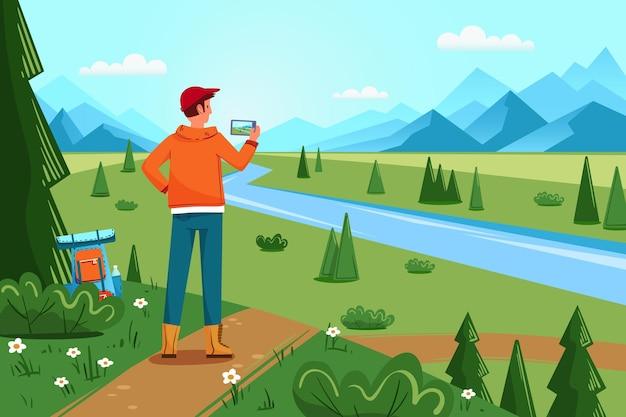 Górski krajobraz ze wzgórzami, rzeką i lasem, męski turysta z plecakiem