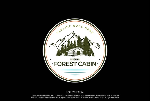 Górski las chata chata stodoła chalet logo design vector