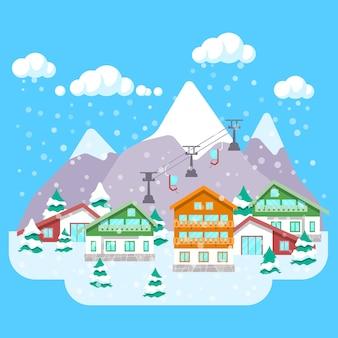 Górski ośrodek narciarski z zimowym krajobrazem, hotelami i wyciągiem. tło