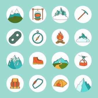 Górskie ikony płaski zestaw z liny kompas camping rock na białym tle ilustracji wektorowych