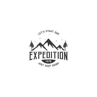 Górskie logo na przygodę i projektowanie logo na świeżym powietrzu
