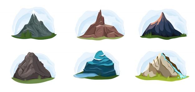 Górskie skały lub alpejskie góry wzgórza natura płaski zestaw ikon na białym tle