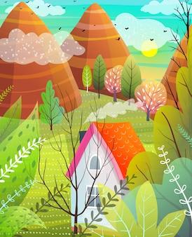 Góry, drzewa i dom, ilustracja scenerii przyrody