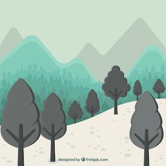 Góry i drzewa w tle