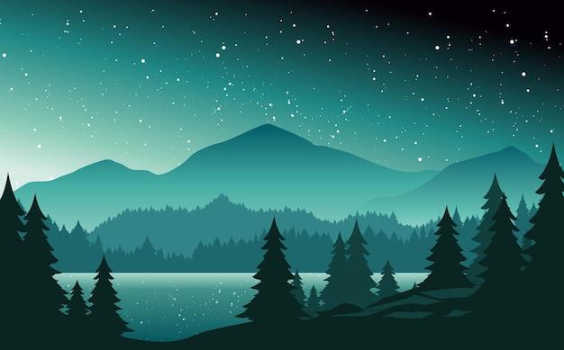 Góry i jezioro w nocy krajobraz