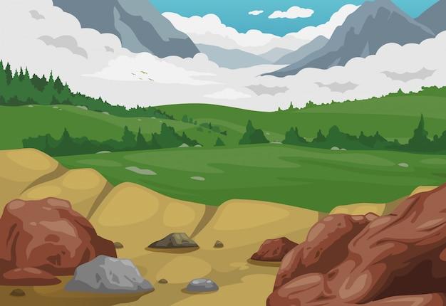 Góry krajobrazowy tło wektor