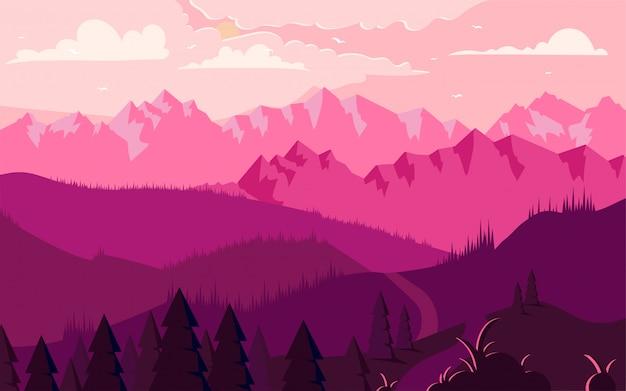 Góry kształtują teren płaską minimalistyczną ilustrację