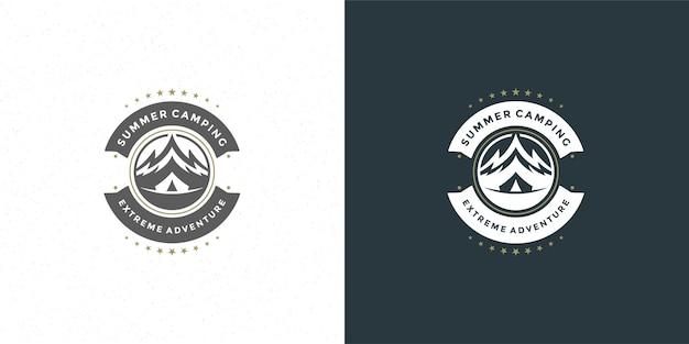 Góry logo emblemat przygoda na świeżym powietrzu camping góra i namiot