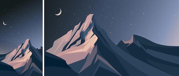 Góry nocą. sceneria przyrody w układzie pionowym i poziomym.