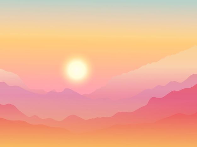 Góry o zachodzie słońca tle akwarela