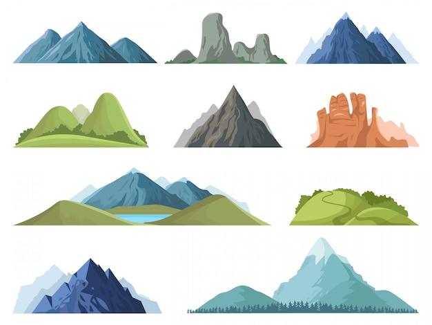 Góry skaliste. krajobraz na zewnątrz szczytów gór, zimowe szczyty, wzgórze z drzewami, zestaw ilustracji krajobrazu doliny górskiej. skały łańcuchowe, góry górskie skaliste środowisko