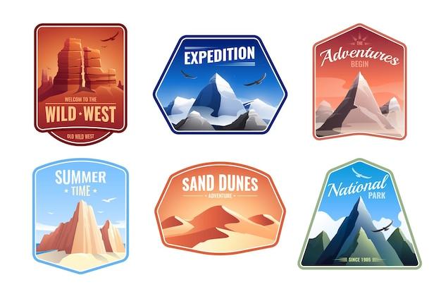Góry skały krajobrazy emblematy płaski zestaw z wydmami, parkami narodowymi i szczytami ekspedycji, edytowalny tekst