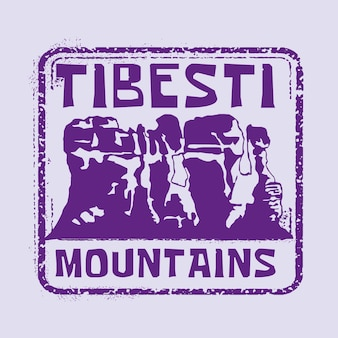 Góry tibesti pieczęć ilustracja odznaka z klasycznym wzornictwem vintage