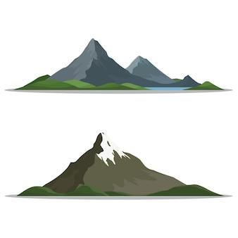 Góry w różnych kształtach, ilustracji wektorowych.