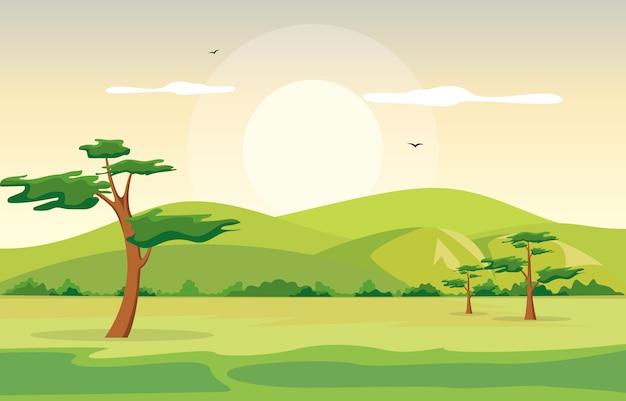 Góry wzgórza zielonej trawy drzewa natury krajobrazu niebo