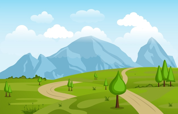 Góry wzgórza zielonej trawy natura krajobraz niebo