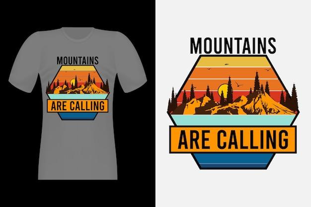 Góry wzywają ręcznie rysowane projekt koszulki w stylu vintage