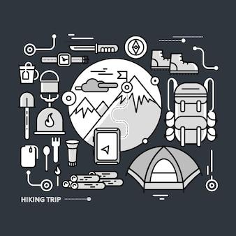 Góry ze śnieżnymi szczytami i sprzętem turystycznym