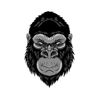 Goryl głowy zwierzęcia, małpa, małpa. ilustracja wektorowa dzikiego logo. edytowalny wektor.