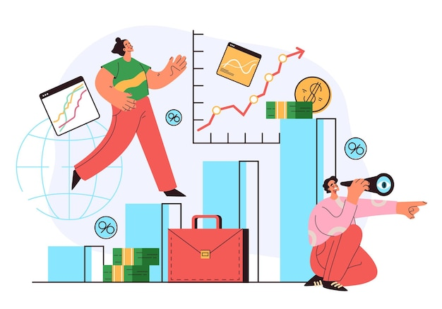Gospodarka ludzie biznesu zespół znaków pracujących patrząc na przyszłość analizy finansowej giełdy pieniądze zysk handlu koncepcja wektor płaski kreskówka graficzna ilustracja