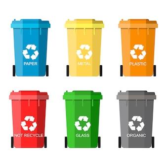 Gospodarka Odpadami, Zestaw Koszy Na śmieci Premium Wektorów