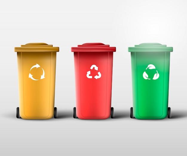 Gospodarowanie odpadami. przetwarzaj kosze na śmieci i śmieci.