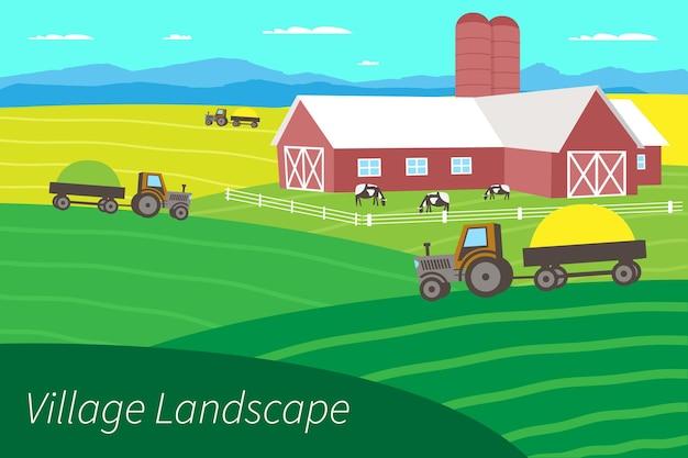 Gospodarstwo rolne i rolnictwo. wiejski krajobraz z polami, drzewami, trawą, kwiatami. eco czysty obszar z niebieskim niebem, górami i chmurami. wieś w lecie. płaskie ilustracji wektorowych.