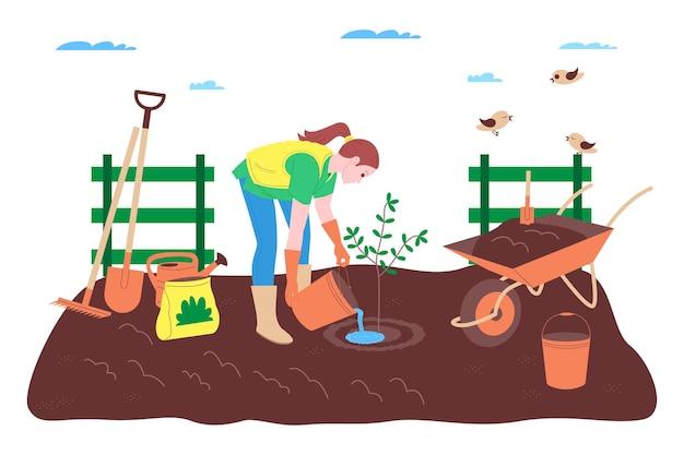 Gospodarstwo rolne, rolnictwo i rolnictwo. robotnik rolny pracuje w gospodarstwie rolnym, sadzie lub ogródku warzywnym: kopie ziemię, ściele grządki, sadzi sadzonki warzyw i owoców, podlewa rośliny.