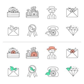 Gospodarstwo rolne. uprawa roślin i owoców. kolorowa linia wektor ikony kolekcja. elementy projektowania stron internetowych dla biznesu, witryny, aplikacji mobilnej.