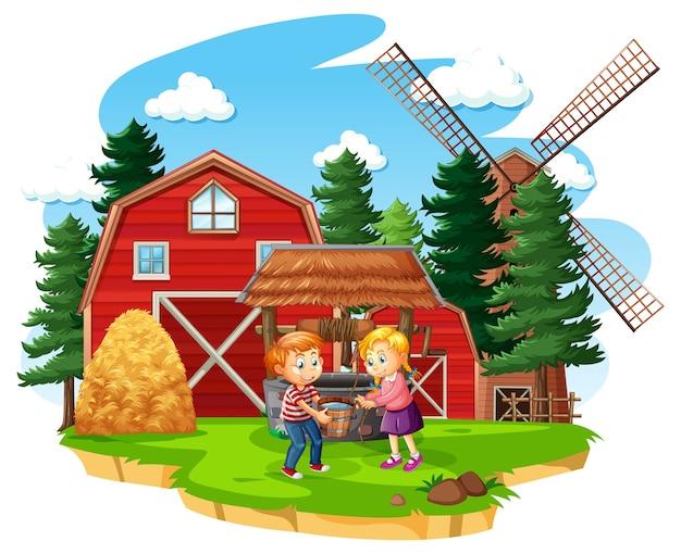 Gospodarstwo rolne z czerwoną stajnią i wiatrakiem na białym tle