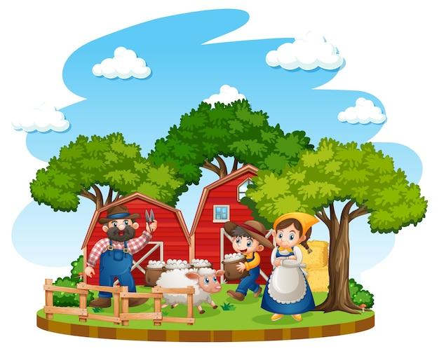 Gospodarstwo rolne z czerwoną stajnią i wiatrakiem