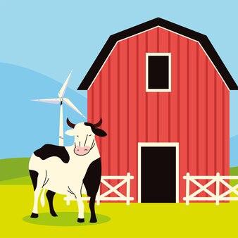 Gospodarstwo stodoła i krowa