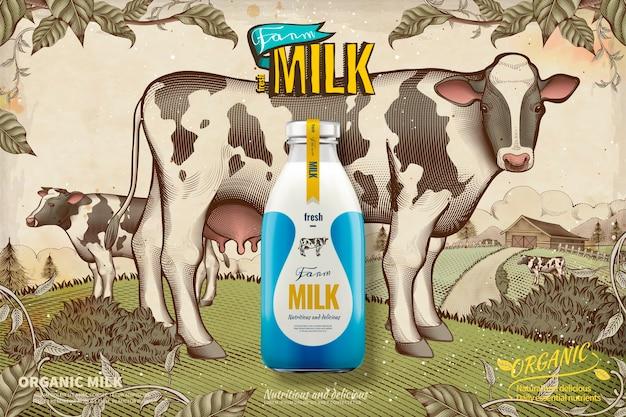 Gospodarstwo świeże mleko na tle retro grawerowane pola uprawne i bydło mleczne