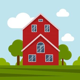Gospodarstwo wiejskie na zielonej łące, budownictwo rolnicze. płaska ilustracja wektorowa na tle błękitnego nieba z chmurami