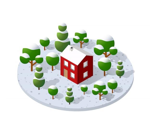 Gospodarstwo wiejskie z drzewami w zimie