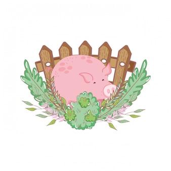 Gospodarstwo zwierząt świnia z ogrodem i ogrodzeniem