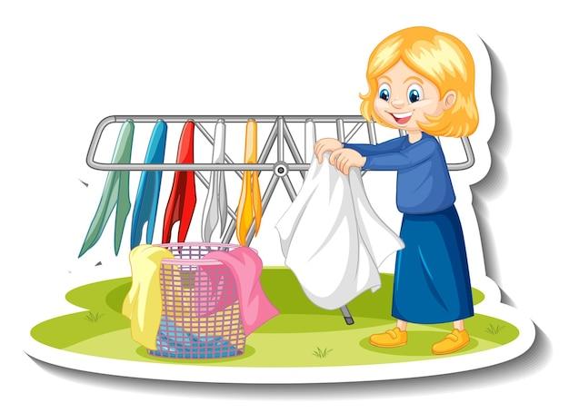 Gospodyni dziewczyna susząca ubrania naklejka z postacią z kreskówek